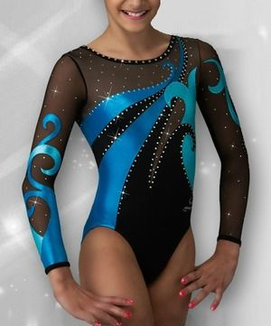 22e1c13319b4 DreamLight Activewear Blue and Black Mesh Competition Leotard ...