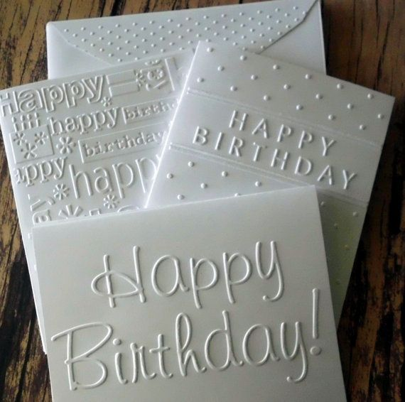 6 Assorted Birthday Cards White Embossed Card Set Greeting Happy Variety Pack Of