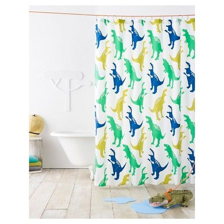 boys bathroom dinosaur shower curtain green pillowfort target