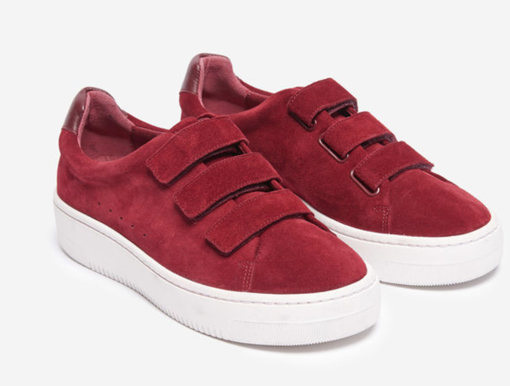 reputable site 383d3 1e073 sandro red suede velcro sneakers