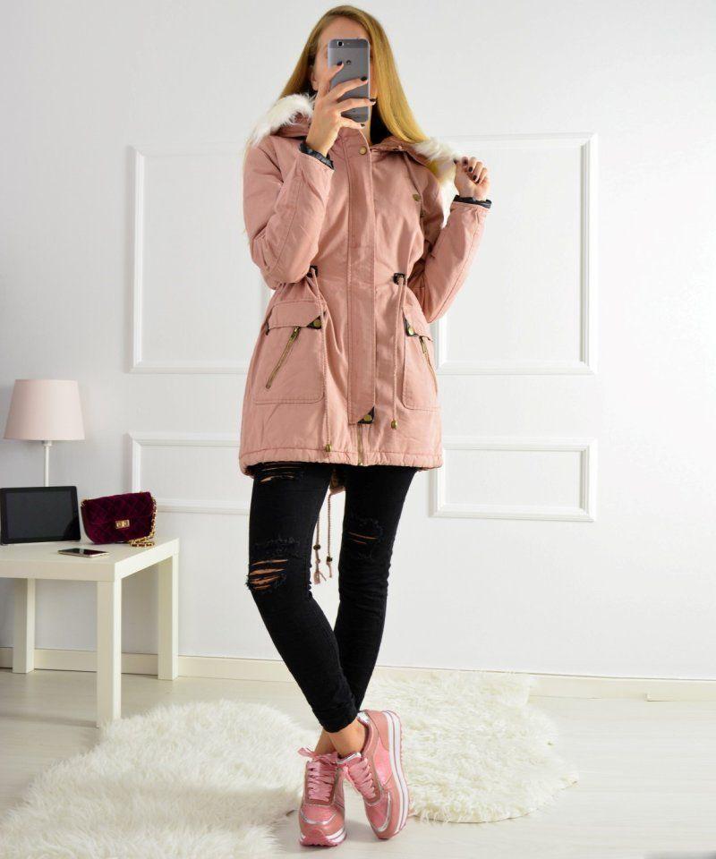 Γυναικείο παρκά με γούνα και κουκούλα ροζ D230   χειμωνιατικαμπουφανγυναικεια  παρκα Parka 1d8d0460389