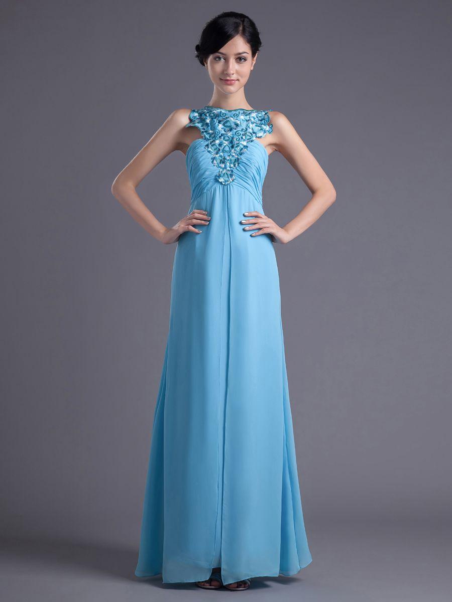 Name brand wedding dresses  Sleeveless Chiffon Empire Floor Length Evening Dress with Embroidery