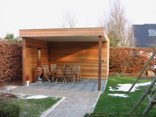 Voorzijde berging incl overdekt terras veranda2 pinterest pergolas verandas and outdoor - Overdekte patio pergola ...