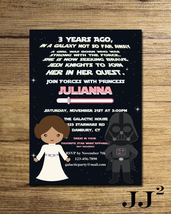 Star Wars Girl Invitation Party Princess Leia The Force Invite Printable File