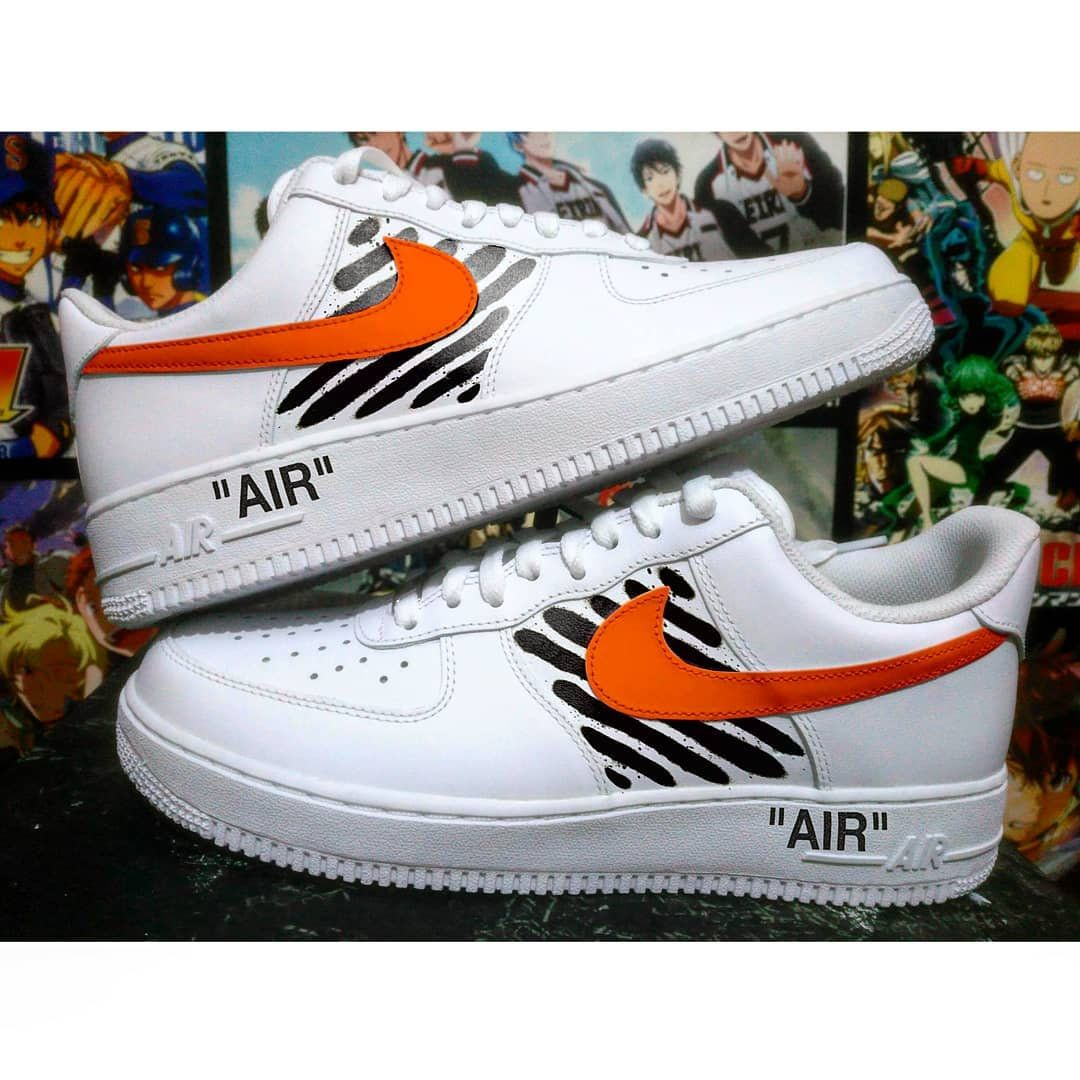 Custom Nike Air Force One Off White Off White Custom Sneakers Custom Shoes Custom Nike Custom Kic Sneakers Men Fashion Nike Air Force Ones Custom Sneakers