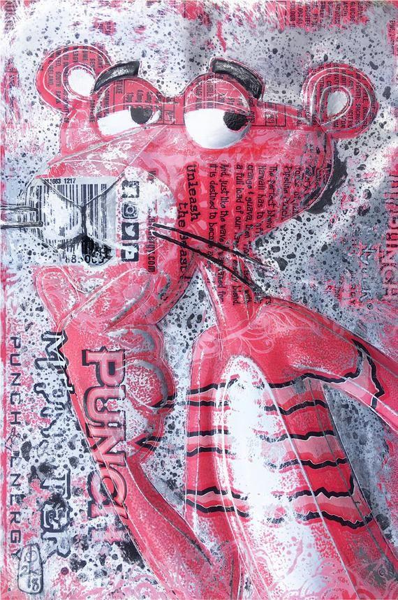 Hand Signed PRINT by Chris Duncan, Pink Panther on Monster Can, Fan Art, Street Art, DC, Marvel, Fandom, Geek, Urban Art, Recycled Art