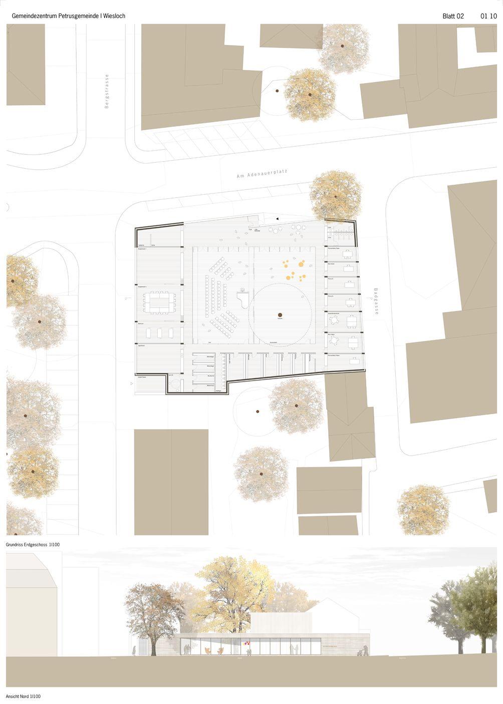 Ergebnis: Neubau Gemeindezentrum für die Petrusgeme...competitionline #architektonischepräsentation