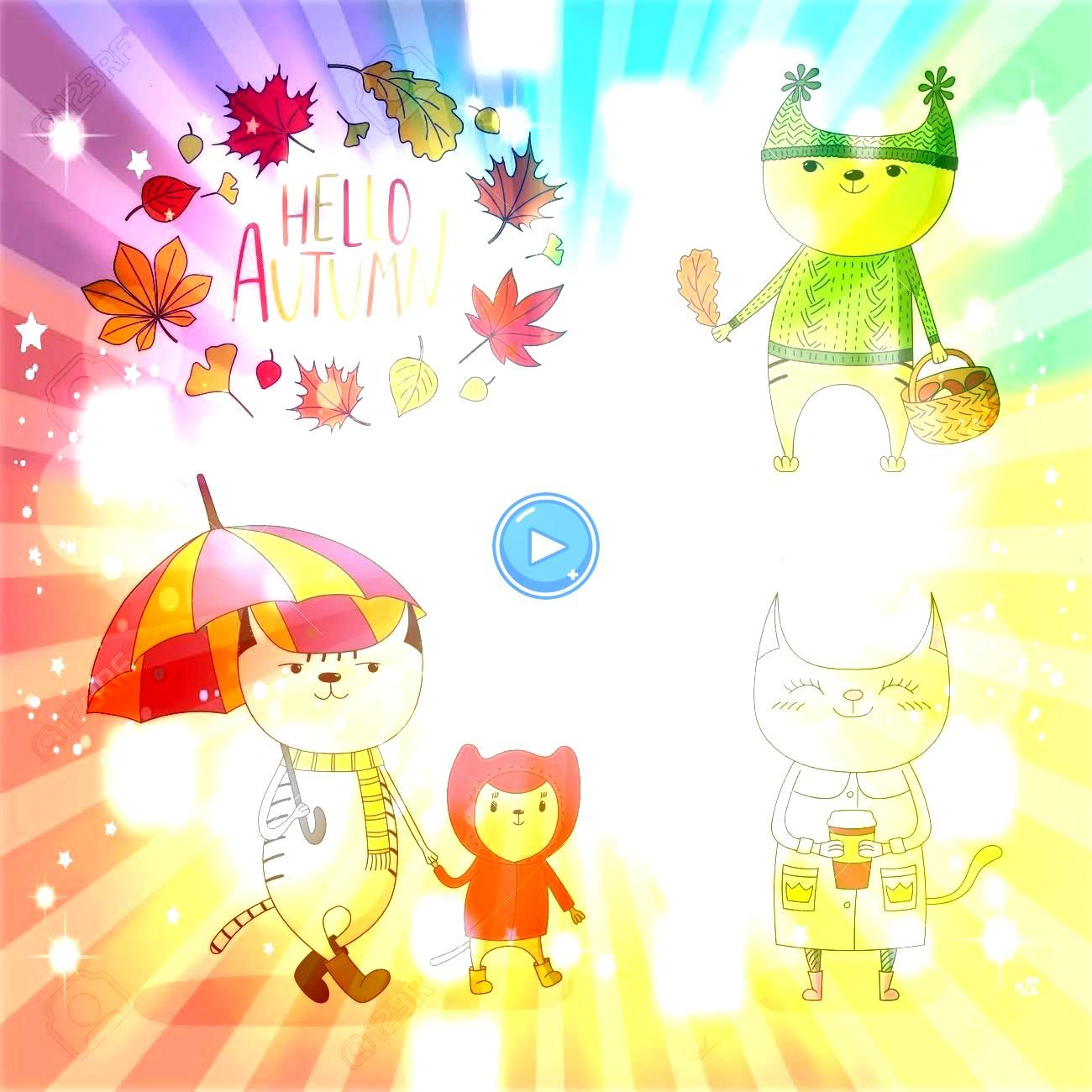 vector illustration of cute cats in rain coat with umbrella mushrooms paper cup with wreath of leaves and text Hello Autumn Isolated objects on white background Design co...