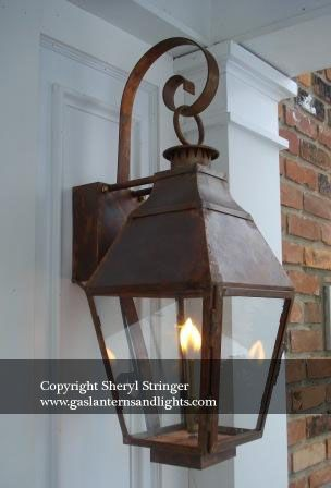 French Gas Lanterns With Copper Curls Outdoor Light Fixtures