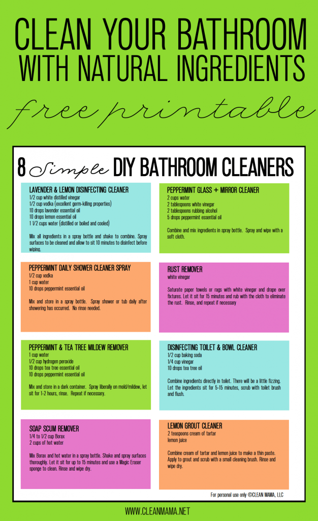 Try These Hard Working Non Toxic Diy Cleaners In Your Bathroom Instead Free Printable Included 8 Simple Clean