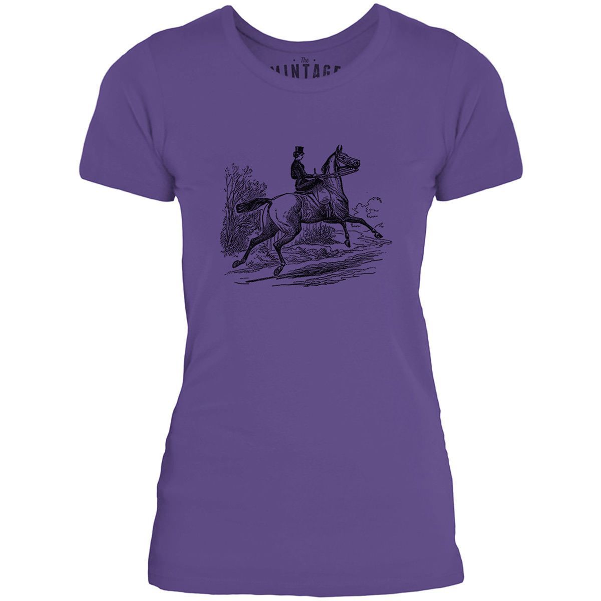 Mintage Riding a Horse Womens Fine Jersey T-Shirt