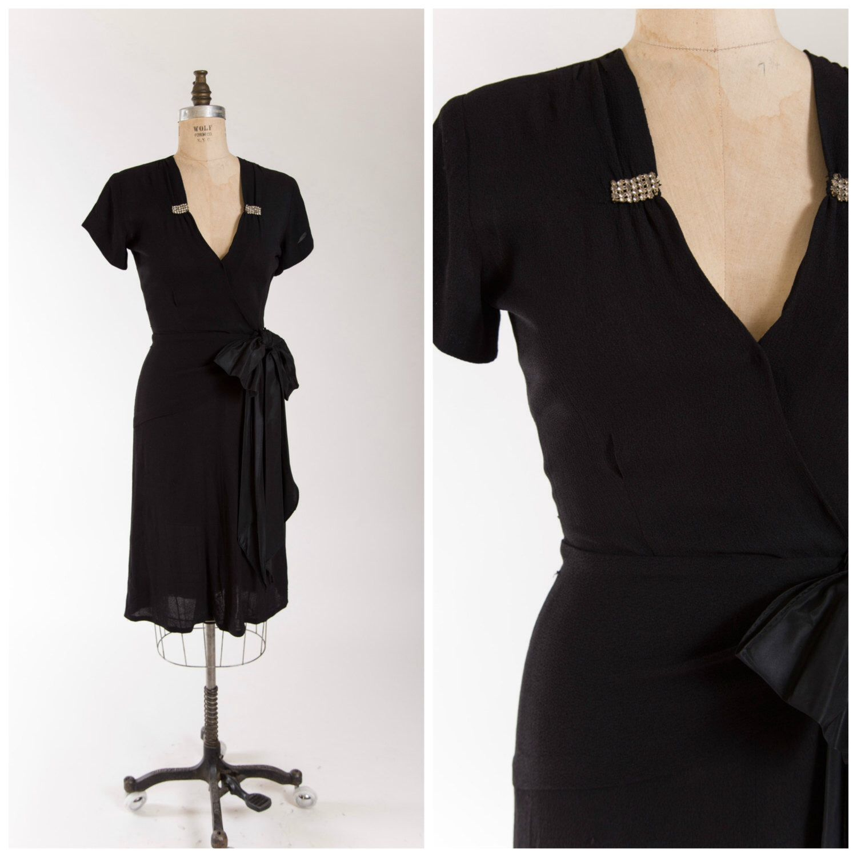 Vintage 1940s Evening Dress Black Rayon Crepe 40s Vintage Cocktail ...