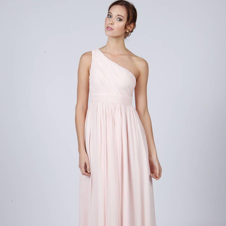 Floor Length One Shoulder Long Bridesmaid Or Prom Dress | Flowergirl ...