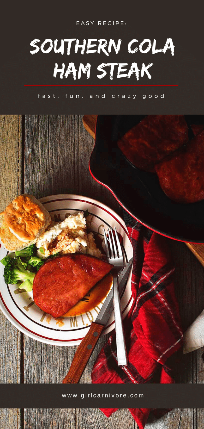 This ham steak recipe is one of my favorites! It's so easy and drenched in a sweet southern cola sauce that is fast to make! Classic comfort food all in one skillet.