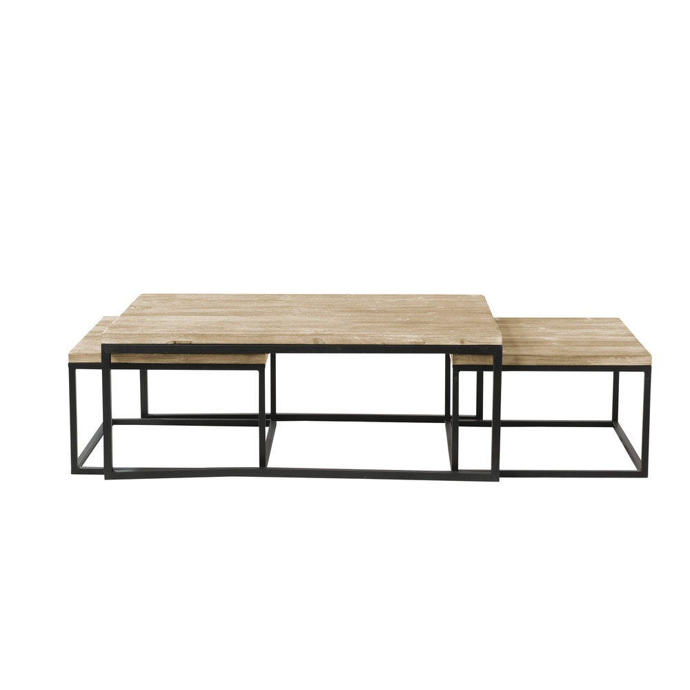 Nest Of 3 Solid Fir And Metal Industrial Coffee Tables Furniture