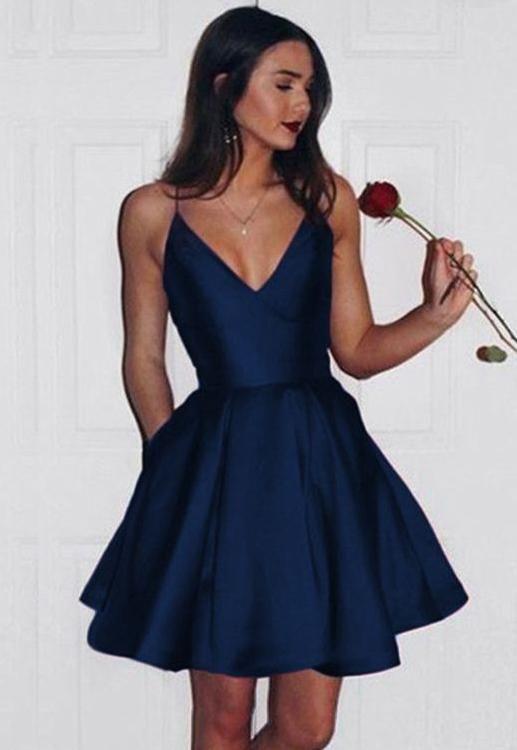 c46680937 V-neck Simple Satin Homecoming Dress Custom Made Short Dance Dress Fashion Short  Prom Dress YDP0200