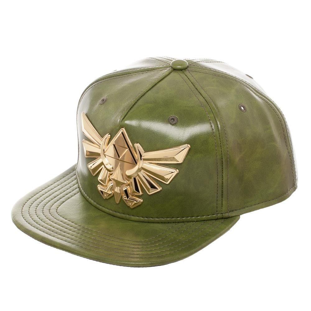 e4982c9a4bd573 Legend of Zelda Faux Leather Snapback Hat Green Metal Badge Wingcrest  Nintendo #Bioworld #SnapbackBaseballCap