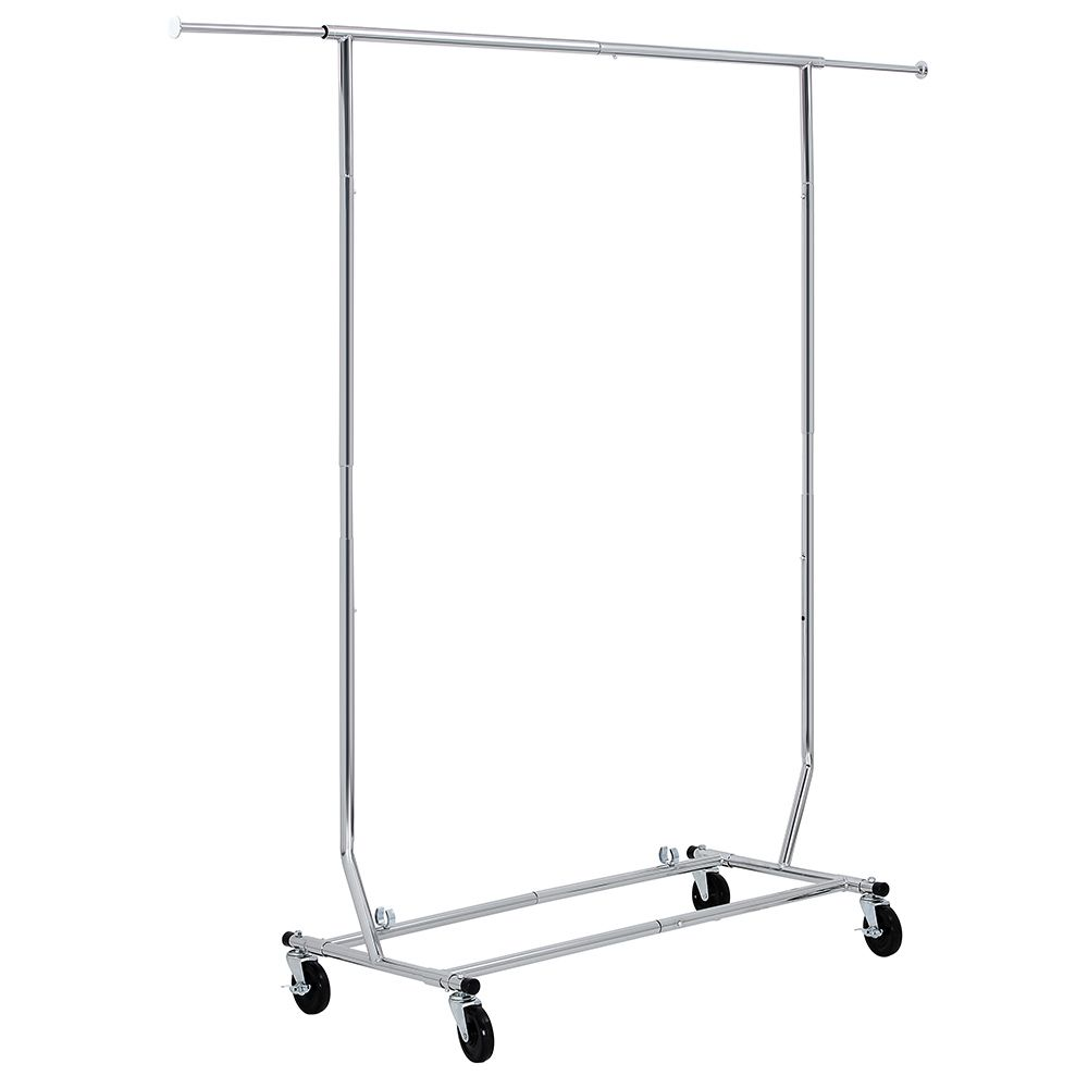 songmics commercial grade rolling garment rack collapsible heavyduty clothing hanging rack on lockable wheels