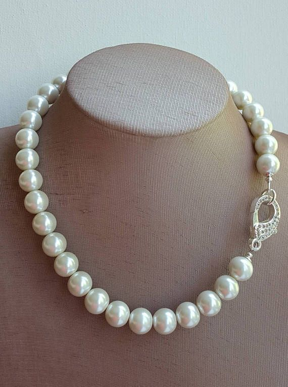 Single Strand Large Pearl Necklace With Pave Rhinestone Clasp
