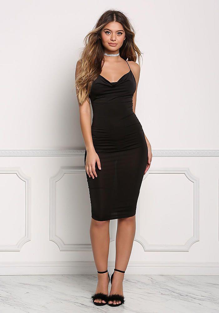 Black X Strap Sleek Bodycon Dress Going Out Dresses Sweets Me