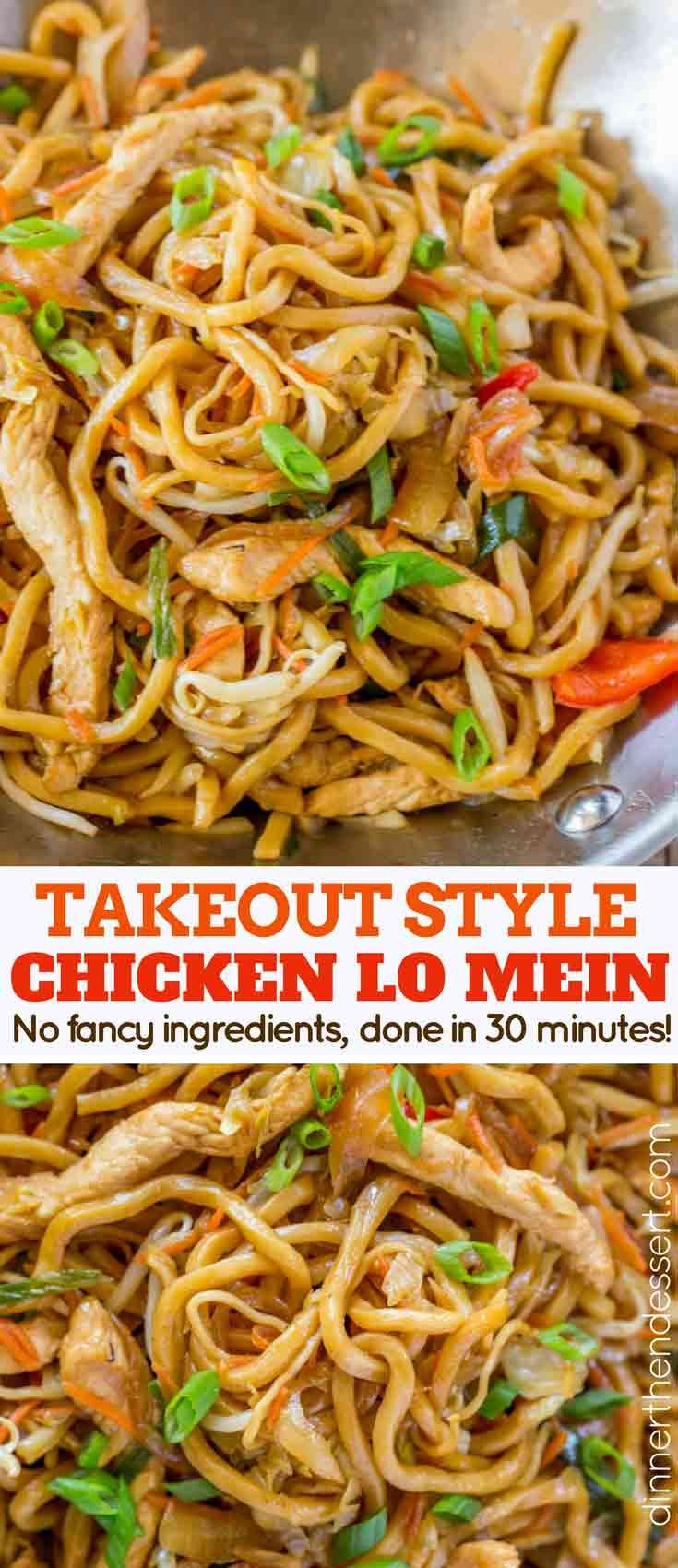 Chicken Lo Mein With Chewy Chinese Egg Noodles Bean Sprouts Chicken Bell Peppers And Carrots In Under Easy Chinese Recipes Recipes Authentic Chinese Recipes