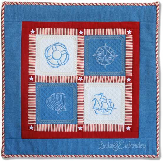 Ocean Dreams Machine Embroidery Quilt-As-You-Go Wallhanging by LindeeGEmbroidery