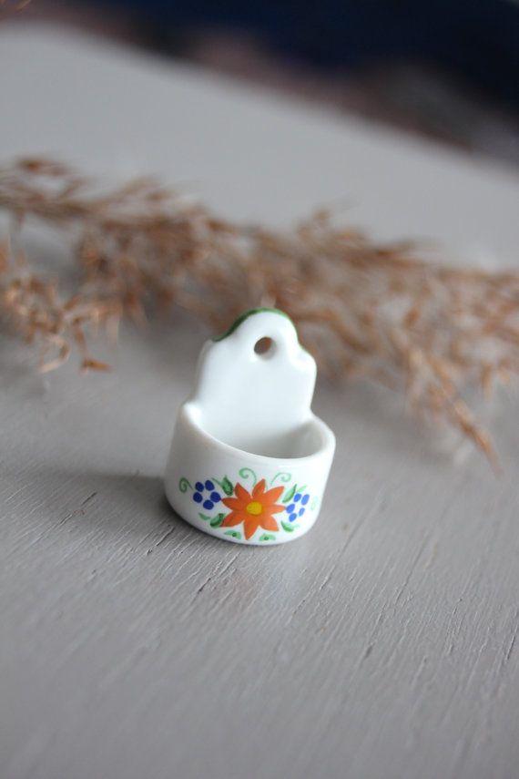 Miniature Reutter Germany porcelaine vintage vide poche mural fleuri maison poupée accessoires fournitures petit decor decoration cadeau