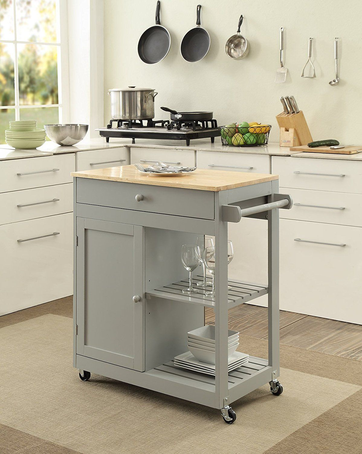 Homelife Nashville Collection Wooden Grey Kitchen Island Cart On