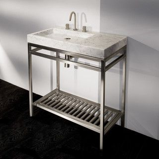 Lacava Free Standing Brushed Stainless Steel Console Stand With Towel Bars And Slotted Shelf In Wood