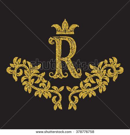Golden Glittering Letter R Monogram In Vintage Style Heraldic