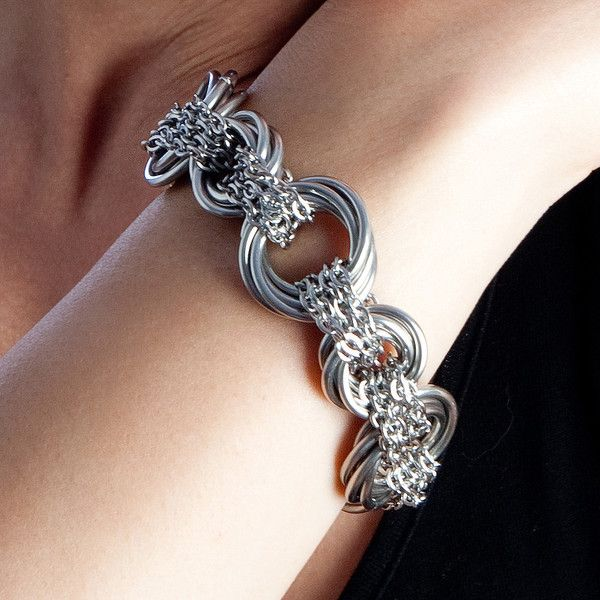 Rapt In Maille   Handmade Chainmaille Jewelry by Melissa Banks   Stainless Steel   Chicago — NEST Chain-Wrapped Bracelet