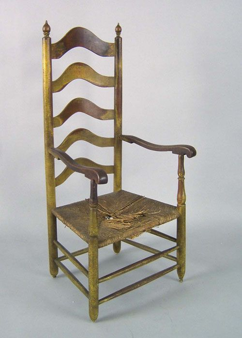Delaware Valley 5 Slat Ladderback Armchair, Ca. 1770, Retaining An Old  Yellow Surface.