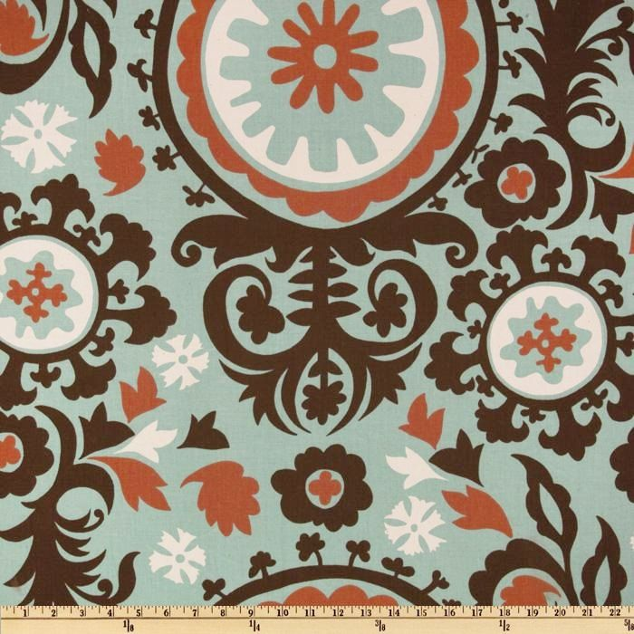 Fabric Premier Prints suzani blue brown rust by FabricSecret ...