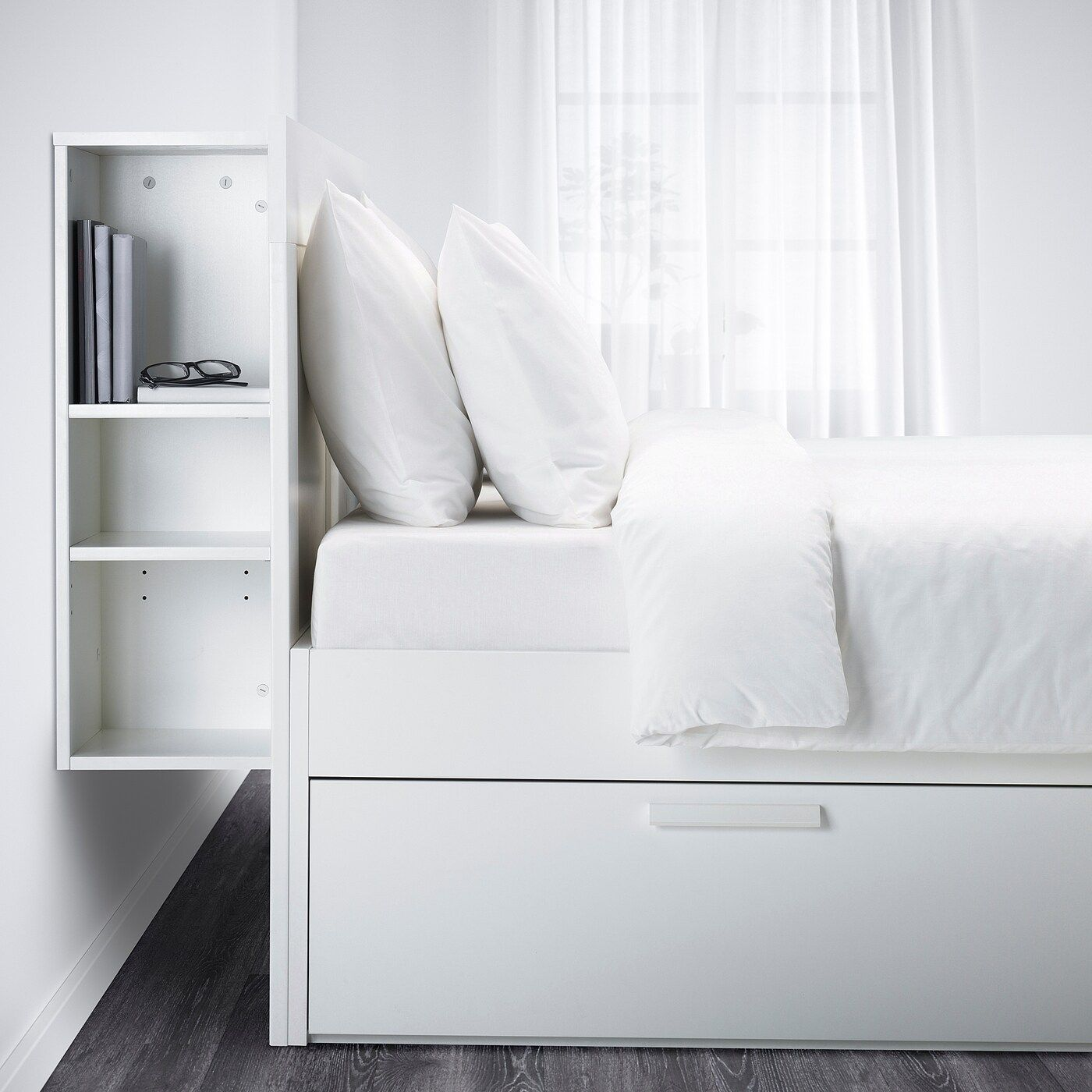 Ikea Brimnes White Luroy Bed Frame With Storage Headboard In 2020 Bed Frame With Storage Headboard Storage White Headboard