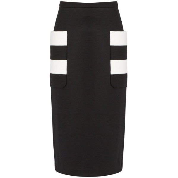 b45a4a0969 Max Mara Ode skirt ($675) ❤ liked on Polyvore featuring skirts, black, stripe  pencil skirt, stripe skirts, knee length pencil skirt, maxmara and striped  ...