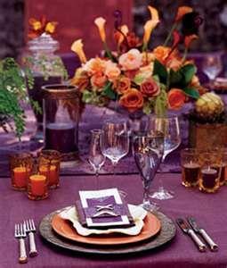 purple and orange table setting | Mrs. Rose 10/25/14 | Pinterest ...