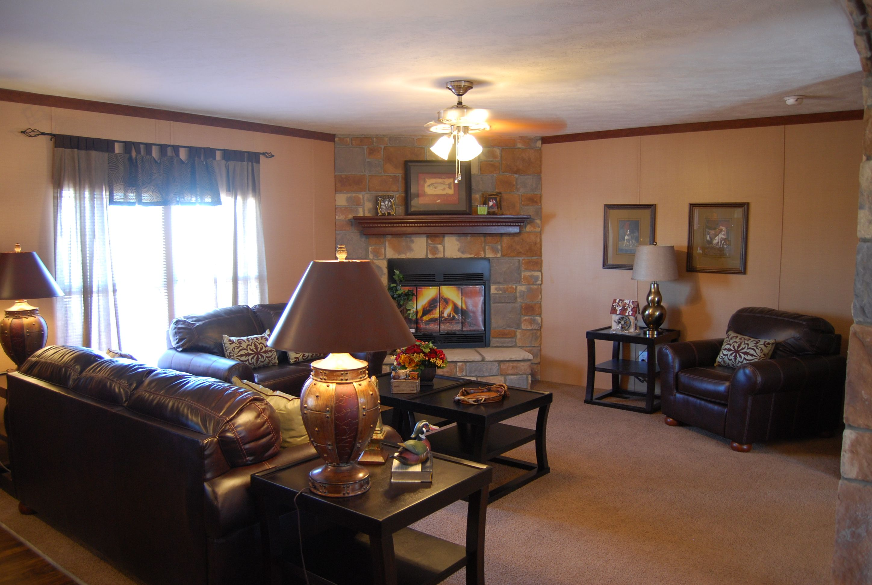 Living room with corner full rock fireplace home and - Living room with fireplace ...