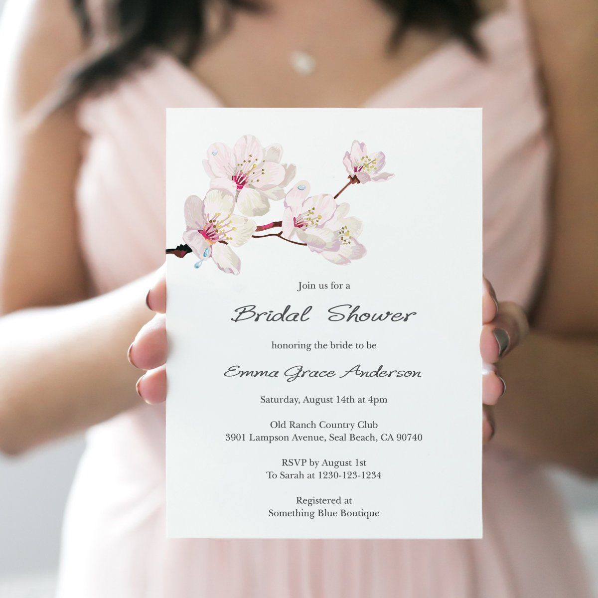 Spring Bridal Shower Invitation Template Cherry Blossom Pink DIY