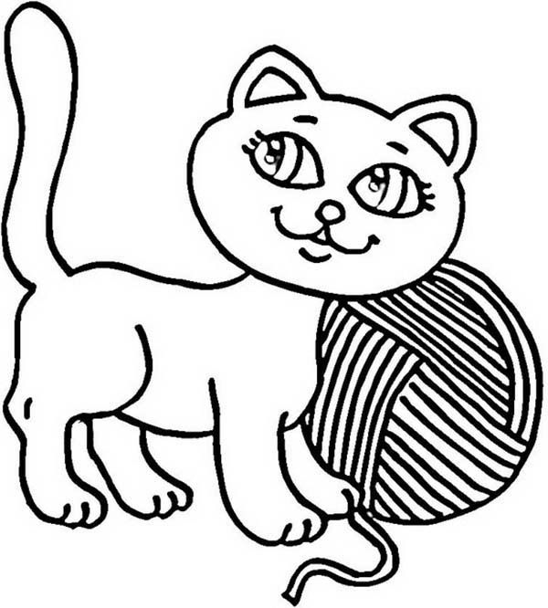 Kitty Cat Kitty Cat And A Yarn To Play With Coloring Page Kitty