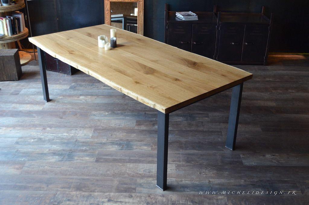 Table de repas chêne massif et pied acier sur mesure | design ...