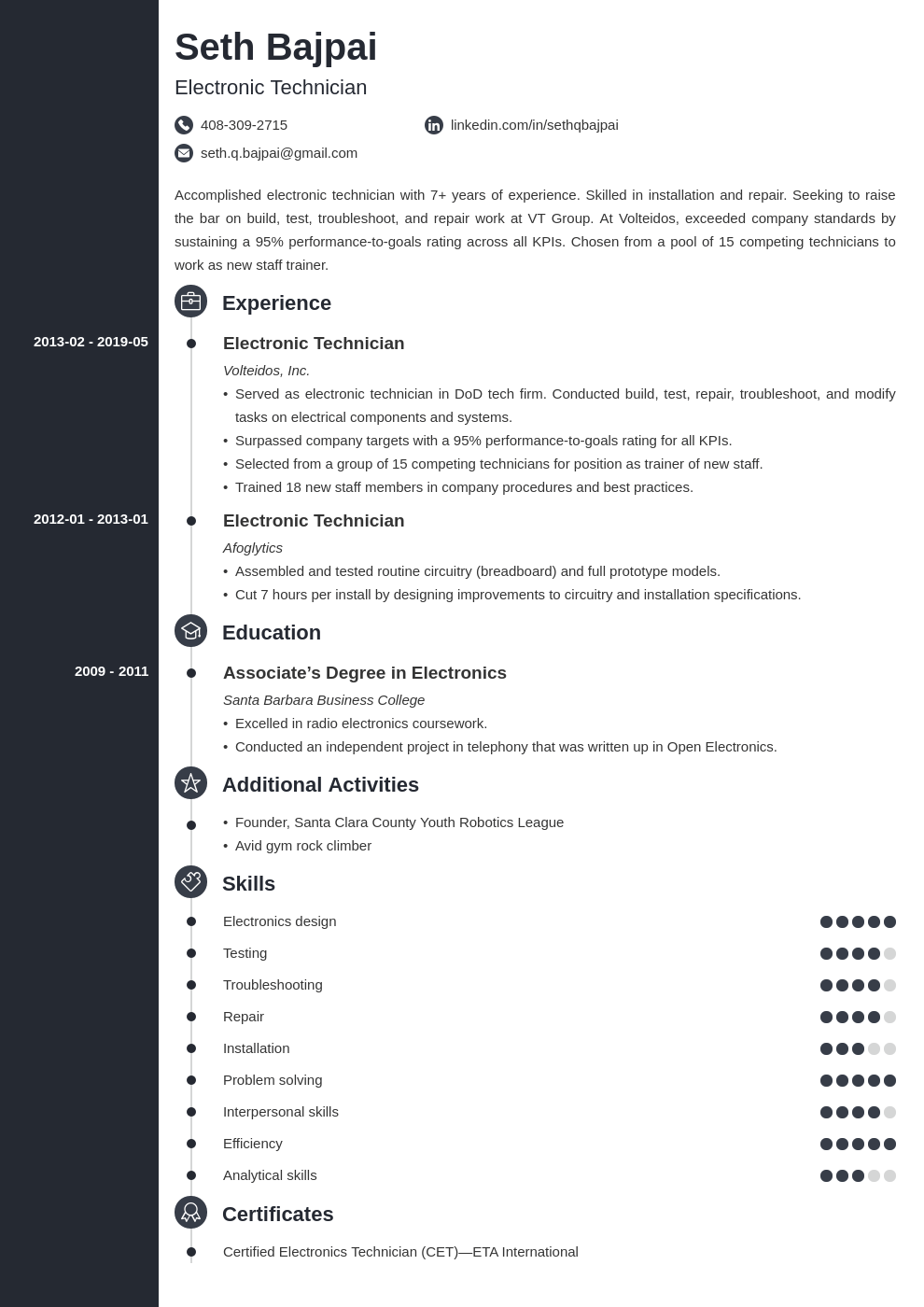 Electronic Technician Resume Example Template Concept Resume Examples Engineering Resume Artist Resume
