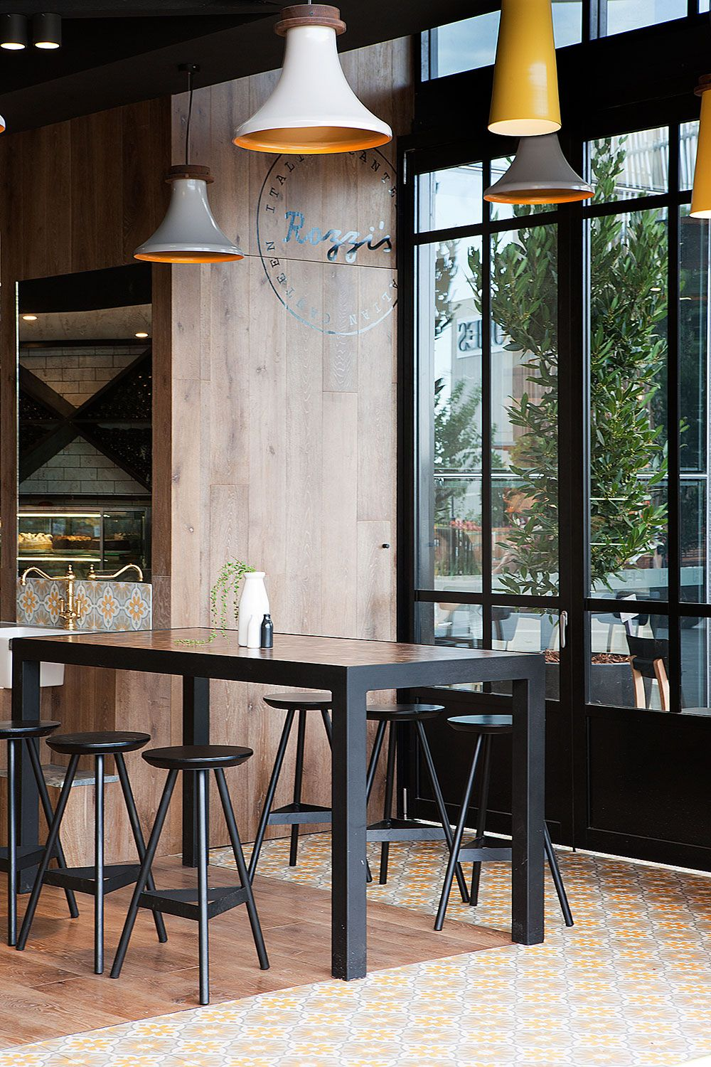 Amazing Restaurant Space. Love the tile details and the inside/outside quality of the space. Rozzi's Italian Canteen by Mim Design, Melbourne, Austrailia.