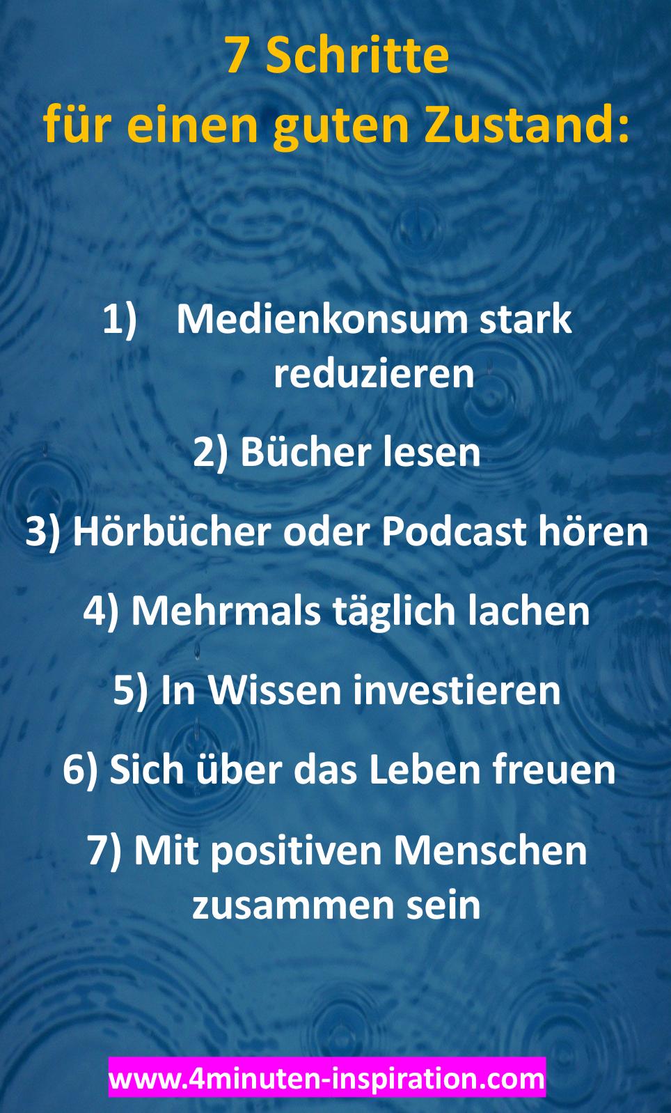7 Schritte Fur Einen Guten Zustand Zitat Des Tages Gute Gedanken Motivation