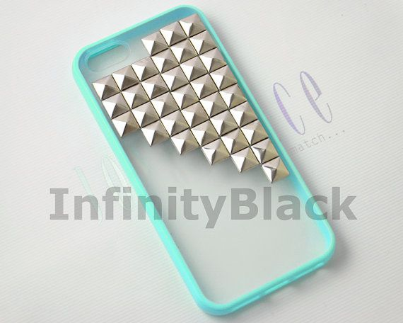 Iphone 5 case, iPhone 5s case, Antique Pyramid Silver Studs Iphone 5 5S case, Blue Frame Clear Back Iphone 5 case Cover
