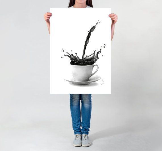 LARGE wall ART coffee pencil drawing realistic coffee matte art print poured black coffee cup of coffee art on thick white paper by DrawingIllustration