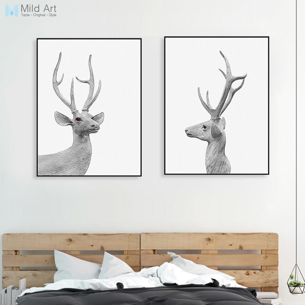 Modern Black White Animal Deer Head Poster Nordic Vintage Retro Wall ...