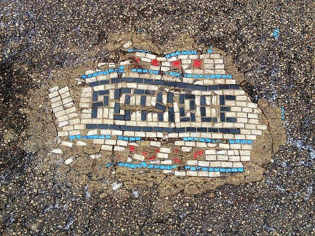 Jim Bachor's Pothole Mosaics: artist patches potholes with glass tile mosaics giving street art (and community service) an ancient feel. http://restreet.altervista.org/jim-bachor-ripara-le-buche-delle-strade-con-i-mosaici/