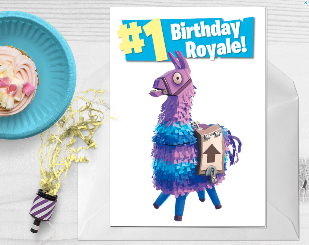 Check out this Fortnite Birthday Card! You can even customize it