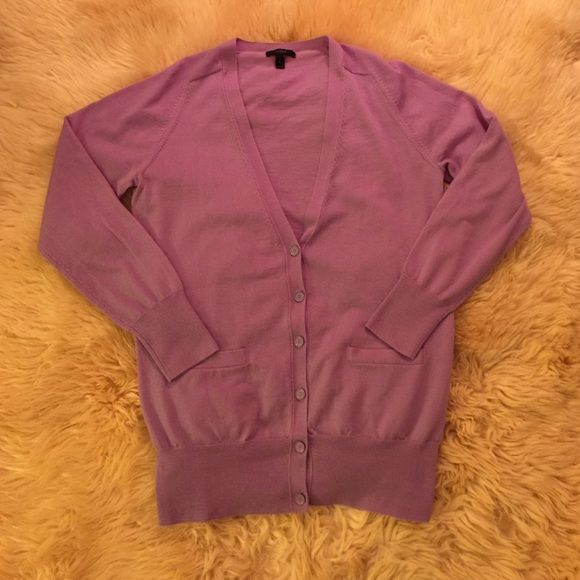 Classic Merino Wool Long Cardigan Sweater Button front cardigan in 100% merino wool. Discontinued color. Color is a light purple / lilac? Classic wardrobe staple. I own it in 6 colors. Excellent condition! J. Crew Sweaters Cardigans