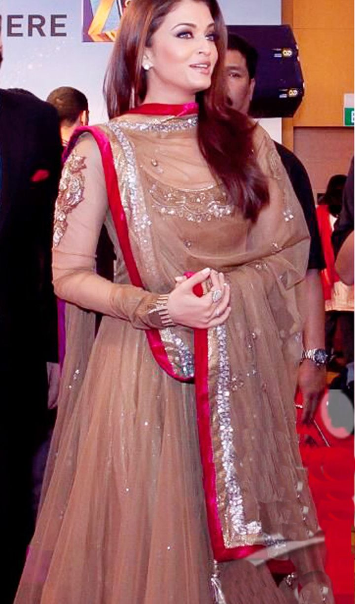 Anarkali suit is in light brown colour and is in net. | Indian ...